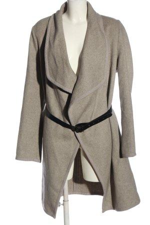 Zero Wollen jas lichtgrijs gestippeld casual uitstraling