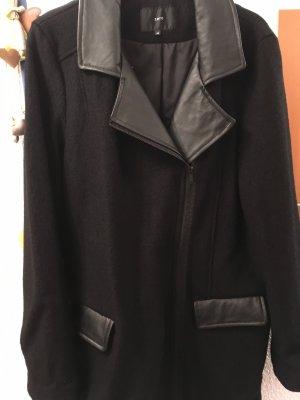 Zero Wollmantel mit Reißverschluss und Ledereinsätze Gr.42