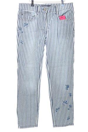 Zerres Slim Jeans blau-weiß Streifenmuster Casual-Look