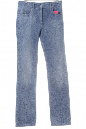 Zerres Straight-Leg Jeans blau Allover-Druck Casual-Look