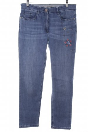 Zerres Straight-Leg Jeans stahlblau-blassblau Sternenmuster Casual-Look