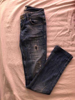 Zara Jeansy z prostymi nogawkami niebieski neonowy