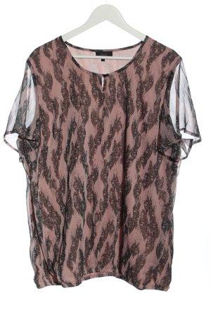 Zhenzi Blouse à manches courtes rose-brun imprimé allover style festif