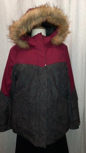 Ziener Veste d'hiver gris foncé-rouge framboise
