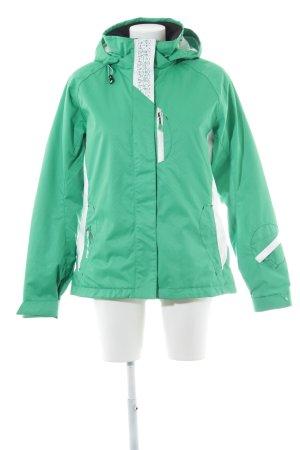 Ziener Sportjacke grün-weiß Zackenmuster Casual-Look
