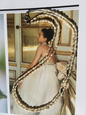 zierliche, 2reihige Echt Perlenkette, chokerlänge