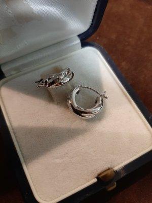 Zierliche Creolen 925 Silber mit Steinchen, ungetragen