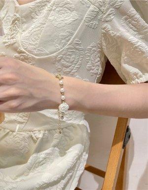 Zierliche süße Blumen Weiße Rose Perlen Armband mit Zirkon Schleife Vintage retro handgemacht neu