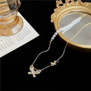 Zierliche süße kleine vergoldete Zirkon Schmetterling Perlen Halskette Choker Vintage retro
