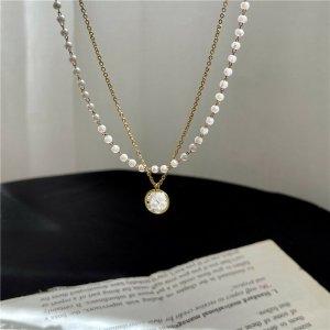 Zierliche süße vergoldete Doppelkettige Perlen Halskette Choker mit Kreis Anhänger vintage retro