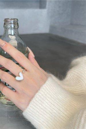 Zierliche süße Weiß Herzchen und Zirkon vergoldeter Ring verstellbar Vintage retro