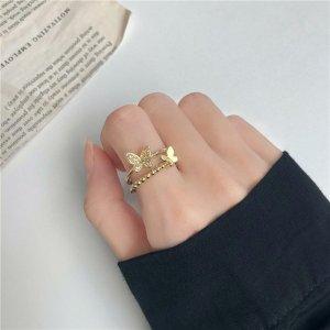 Zierliche Vergoldeter Schmetterling süßer statement moderner Ring Diameter 16mm