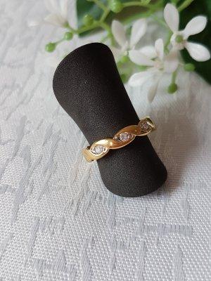 Zierlicher Pierre Lang Ring geschlängelt, vergoldet mit süßen kleinen Zirkoniasteinchen, Gr. 46