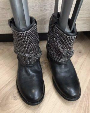 Zign Botines slouch negro-color plata Cuero