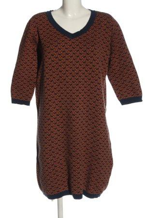 ZILCH Sweaterjurk bruin-blauw volledige print casual uitstraling