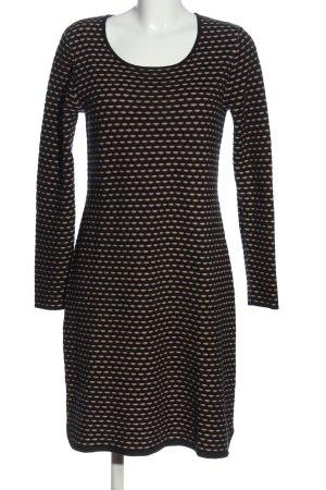 ZILCH Robe en laine noir-crème motif abstrait style décontracté