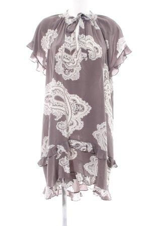 Zimmermann Vestido estilo flounce marrón-blanco estampado con diseño abstracto