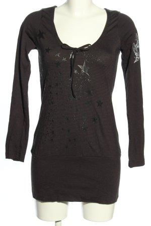 Zimtstern Koszulka z długim rękawem brązowy-czarny Nadruk z motywem