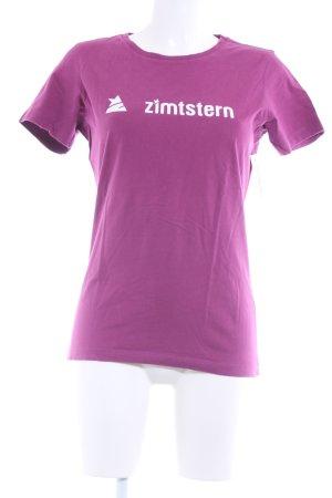 Zimtstern T-Shirt violett-weiß Schriftzug gedruckt Casual-Look