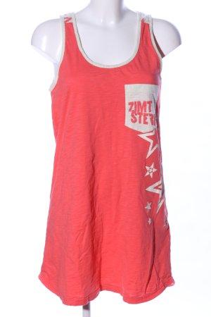 Zimtstern Trägerkleid rot-creme Motivdruck Casual-Look