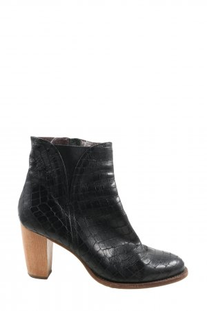 Zinda Reißverschluss-Stiefeletten schwarz Animalmuster Elegant