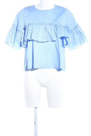 Rüschen-Bluse blau Casual-Look