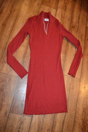 Zip Detail Ribbed Dress Rot Neu Gr. 40 Nakd