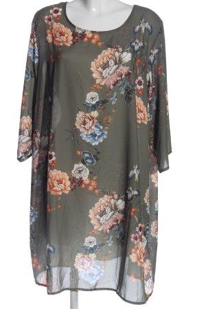 Zizzi Blusenkleid silberfarben-nude Blumenmuster Casual-Look
