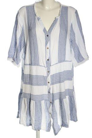 Zizzi Long-Bluse weiß-blau Streifenmuster Casual-Look