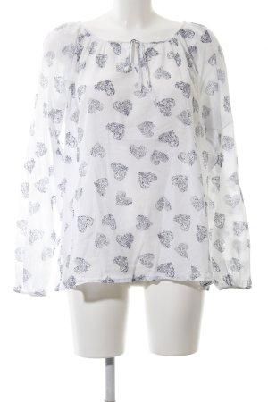Zizzi Oversized Bluse weiß-schwarz Allover-Druck Casual-Look