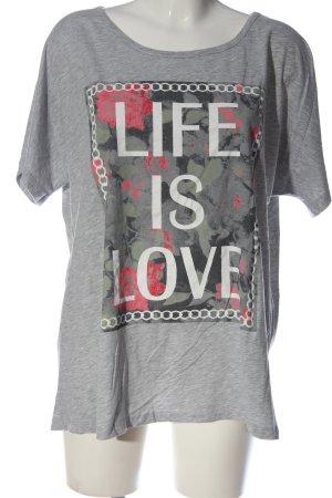 Zizzi Print-Shirt hellgrau-weiß Schriftzug gedruckt Casual-Look