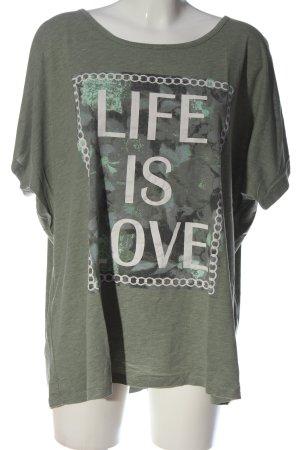 Zizzi Print-Shirt khaki-weiß Schriftzug gedruckt Casual-Look