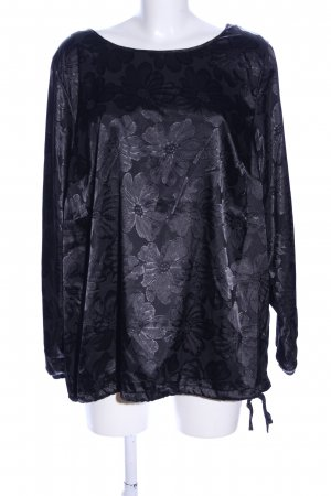 Zizzi Schlupf-Bluse schwarz Blumenmuster Business-Look