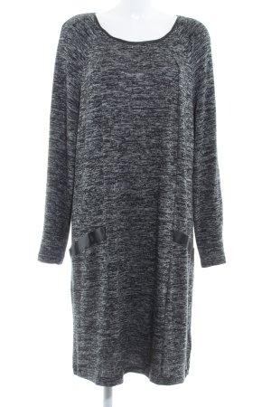 Zizzi Strickkleid schwarz-hellgrau meliert schlichter Stil