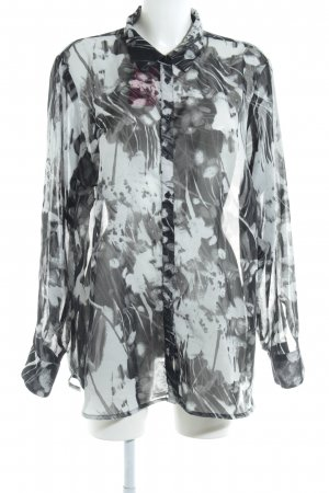 Zizzi Transparenz-Bluse schwarz-hellgrau abstraktes Muster Transparenz-Optik
