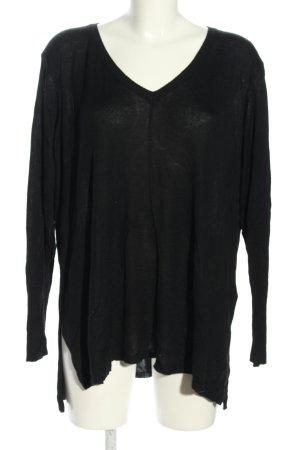 Zizzi V-Ausschnitt-Pullover schwarz Casual-Look