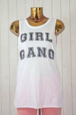 ZOE KARSSEN Damen Top Weiß Schwarz Girl Gang Print Baumwolle Modal Gr.Small