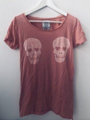 Zoe Karssen T-Shirt Rosé Weiß Skull Totenkopf Print Rundhals Gr. S