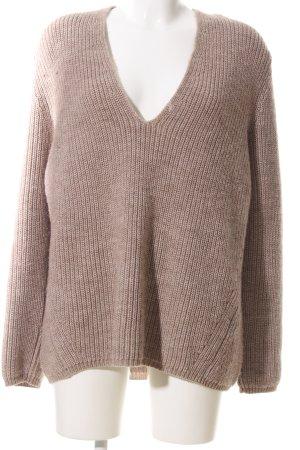 Zoe Ona V-Ausschnitt-Pullover braun meliert Casual-Look