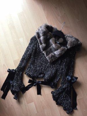 ZONE BLEUE Unic Stil Blogger Exclusiv Elegant Pullover Fake Pelzkragen Party Mode Beauty Trend Design