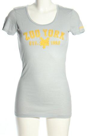 Zoo york T-shirt imprimé gris clair-orange clair lettrage brodé