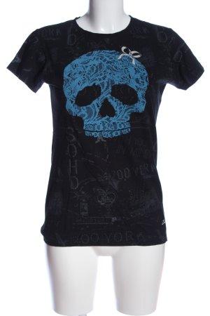 Zoo york Print-Shirt schwarz-blau Motivdruck Casual-Look