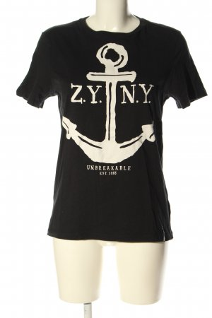 Zoo york T-shirt noir-blanc imprimé avec thème style décontracté
