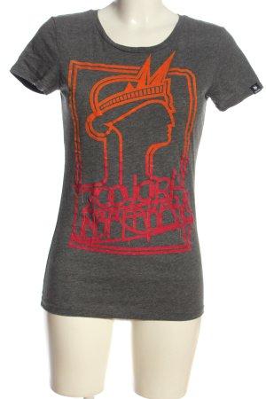 Zoo york T-shirt gris clair-rouge moucheté style décontracté