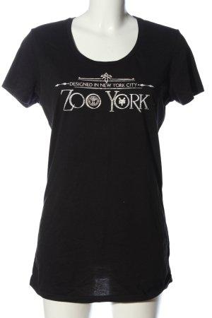 Zoo york T-shirt noir-blanc lettrage imprimé style décontracté