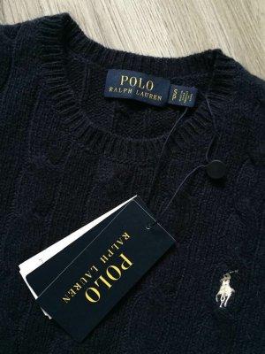 Polo Ralph Lauren Pull torsadé bleu foncé laine