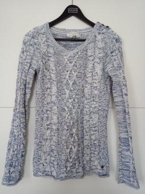 H&M L.O.G.G. Warkoczowy sweter biały-ciemnoniebieski