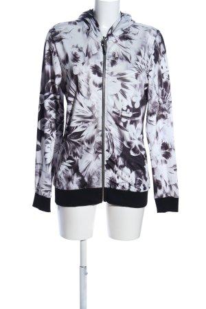 ZOSO Kapuzenjacke schwarz-weiß Blumenmuster Casual-Look