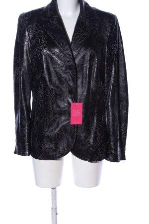 Zucchero Leder-Blazer schwarz abstraktes Muster Casual-Look