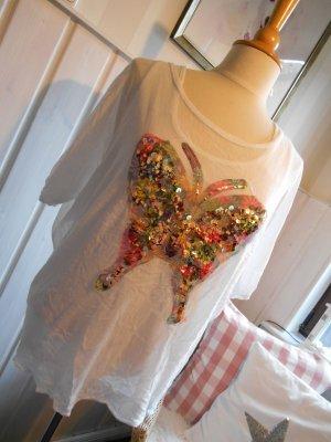zuckersüßes Oversize Shirt Tunikashirt mit Statement Schmetterling aus Pailetten NEU